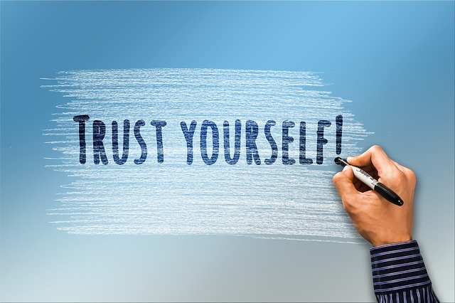 This is an image that has the words Trust Yourself inscribed on it.